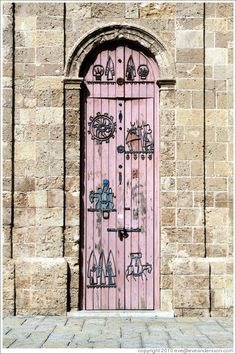 Door, clock tower, Old Jaffa.Israel