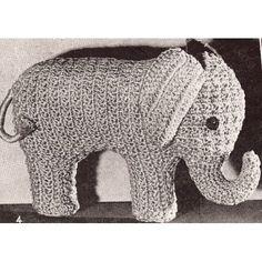 Vintage Crochet PATTERN to make   Elephant Stuffed Animal Soft Toy