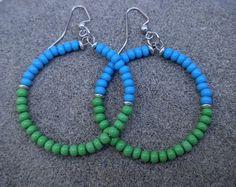 Colorful Hoop Earrings Czech Bead Earrings by KidsAtHeartBeadShop