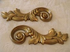 "Pair Gold Gild Swirl Acanthus Leaves Accent Wall Plaques 16"" x 5.5""  Ea HOMCO  #HomeInteriorsGifts"