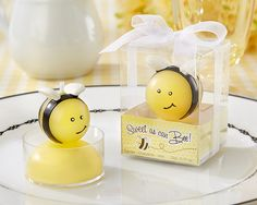 Bee baby shower candle favors.