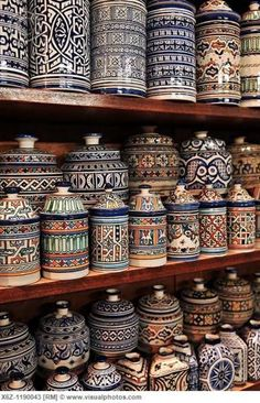 Fez pottery is very distinct in its white glaze, dominantly dark blue patterns and geometry quality. Pottery styles vary from a city to the next though Fez pottery is among the more famous varieties.