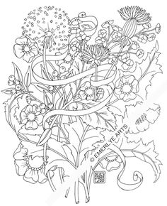 Cynthia Emerlye, Vermont artist and life coach: Shy Dandelions - an adult coloring page