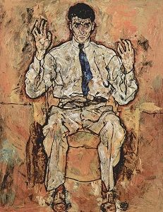 Albert Paris Gütersloh (5 februari 1887 – 16 mei 1973) - Portret door  Egon Schiele, 1918
