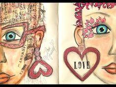 Art Journaling Mixed Media: Valentine's Part 1 - YouTube