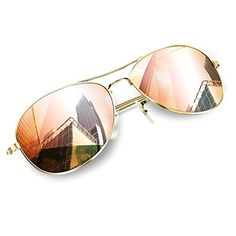 Aviator sunglasses |  Wenlenie Aviator Sunglasses for Women with Gold Metal FramePink Mirror Lens Small *** Read more reviews of the product by visiting the link on the image.-It is an affiliate link to Amazon. #Aviatorsunglasses