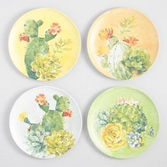Keeping up with the cactus craze, our melamine dinner plates are each adorned with a different colorful succulent. Dinner Plate Sets, Dinner Plates, Ceramic Plates, Decorative Plates, Melamine Dinnerware, Tableware, Weathered Furniture, Colorful Succulents, Cactus Decor