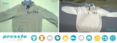 Manchas de rotulador. En Pressto somos especialistas en la limpieza de todo tipo de manchas, como ésta, de rotulador. El jersey ha quedado impecable