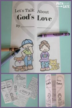 Teach your children about God's Love with this notebook activity, including mazes, cross word puzzles, and even a turtle search. Sunday School Kids, Sunday School Lessons, Sunday School Crafts, Bible Games, Bible Activities, Church Activities, Bible Study For Kids, Bible Lessons For Kids, Preschool Bible