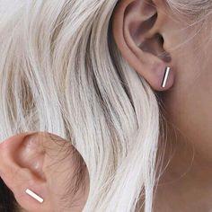 Straight Vertical Bar Stud Earrings