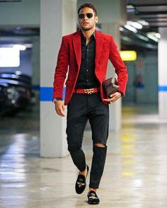 Neymar Jr Slays In Red Blazer, Dolce & Gabbana Loafers And Royaums Belt