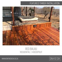 Balau timber is the decking material of choice in humid and wet environments. Decking Material, Timber Deck, Outdoor Furniture, Outdoor Decor, Red, Home Decor, Decoration Home, Room Decor, Home Interior Design
