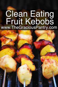 :..Clean Eating Cinnamon Fruit Kebobs...refreshing treat or meal compliment !! Fruit Kebabs, Skewers, Grilling Recipes, Grilling Ideas, Fruit Recipes, Clean Eating Recipes, Real Food Recipes, Yummy Food, Good Food