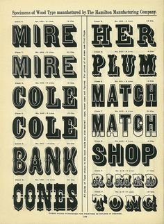 """Block style typography - Has a nice vintage feel to this, could see some of them working nicely for signage."""