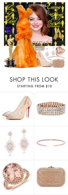 """""""Red Carpet Look: Emma Stone"""" by lizf99 ❤ liked on Polyvore featuring Christian Louboutin, Anne Sisteron, Blue Nile and Judith Leiber"""