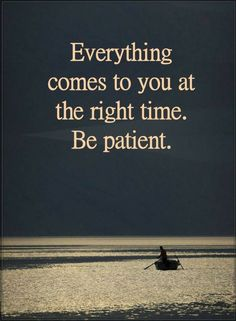Everything comes to you at the right time. Be Patient | Quotes
