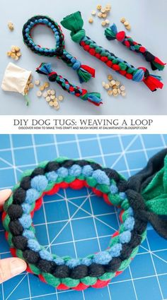 Cats Toys Ideas - Dog Toys - Dog Toy DIY: How to Make a Square Knot Fleece Loop Tug Toy with Handle - Ideal toys for small cats Dog Crafts, Animal Crafts, Diy Dog Toys Fleece, Dog Fleece, Diy Puppy Toys, Diy Toys For Dogs, Diy Pour Chien, Dog Enrichment, Homemade Dog Toys