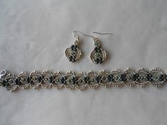 I made this set for someone in a Facebook bracelet/earring exchange. It is the Lovely Lace pattern that Linda offers for free on her blog.