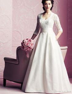 2017 Spring A Line Wedding Dresses 3/4 Sleeve V Neck Lace Satin Court Train Simple Design Bridal Gowns Custom Made Cheap Gowns Cheap Lace Wedding Dresses From Kiss_dress, $94.48| Dhgate.Com