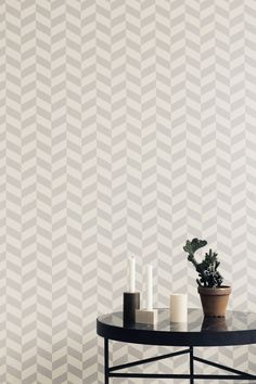 I was looking forward to the new Ferm Living Fall / Winter 2014 collection. Ferm Living focuses its colle. Ferm Living Wallpaper, Grey Wallpaper, Wallpaper Paste, Scandinavian Nursery Furniture, Black Marble Coffee Table, Design Simples, Modern Wallpaper Designs, Home Decoracion, Scandinavian Design