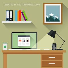 Vector illustration of an office.