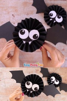Let's get silly with this Paper Rosette Bat Craft. These are super easy to make and just look how fun they turn out. Make a fun Halloween craft - this paper rosette bat craft is great for both kids and adults alike. A fun and quick Halloween craft idea. Quick Halloween Crafts, Halloween Crafts For Toddlers, Halloween Porch Decorations, Easy Christmas Crafts, Halloween Activities, Halloween Fun, Kids Crafts, Halloween Garland, Origami Halloween