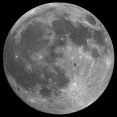 International Space Station in lunar transit
