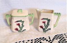 20s 30s Vintage Art Deco Cream and Sugar Set with Christmas