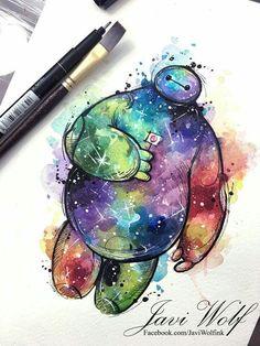 Watercolor nebula Baymax  by Javi Wolf