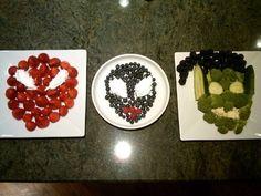 spiderman party fruit and veg trays Avengers Birthday, Superhero Birthday Party, 6th Birthday Parties, Happy Birthday Baby, Boy Birthday, Villains Party, Spiderman Theme, Adoption Party, Party Themes For Boys