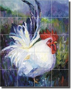 "Williams Bantam Rooster Ceramic Tile Mural Backsplash 17"" x 21.25"" - DWA009 on eBay!"