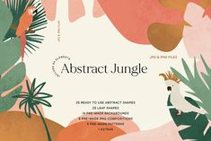 Abstract Jungle - Abstract Jungle Themed Shapes & Compositions Ready to use textured shapes, elements, and. Jungle Illustration, Plant Illustration, Website Illustration, Creative Illustration, Landscape Elements, Photoshop Overlays, Branding, Summer Design, Stock Art