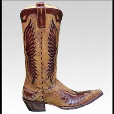 """Old Gringo Tan Leopard Eagle Cowboy Boots 9.5 Old Gringo Eagle Tan Chocolate Leopardito Women's Cowboy Boots. Shaft: 13 in. Eagle inlay design. Ocre leopard print base. Never been worn however no tags or original box. Heel height: 1 & 3/4"""". Toe - Sharp Pointed Standard Width. Old Gringo Shoes Heeled Boots"""