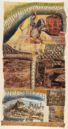 Martín Ramírez (1895–1963) untitled collage  Pencil, colored pencil, and collage on pieced paper. 35 13/16 x 18 1/2 in.
