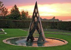 Z Coriolis water sculpture sunset. Photo credit: Giles Rayner