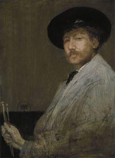 James Abbott McNeill Whistler (American 1834–1903) [Impressionism, Tonalism] Arrangement in Gray: Portrait of the Painter (self portrait), c. 1872. Detroit Institute of Arts.