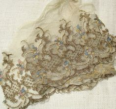 Antique Lace Vintage Lace Trim  Tulle Remnant with Metallic Embroidery