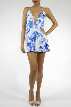 This floral printed romper is perfect for the summer! With scallop detailing along the bust and strappy minimalist back. Water Paint Romper by L'atiste. Clothing - Jumpsuits & Rompers - Rompers Miami, Florida