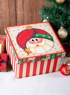 Decorative painting projects and projects with free patterns. Christmas Love, Christmas Pictures, Christmas Crafts, Christmas Decorations, Christmas Ornaments, Painted Glass Blocks, Painted Boxes, Decoupage Box, Decoupage Vintage