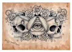 Illuminati and Skull chest tattoo design (scanned) by ~kirstynoelledavies on deviantART