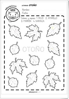Otoño - leaf coloring page Spanish Activities, Autumn Activities, Teaching Spanish, Spanish Colors, Apple Theme, Classroom Language, Autumn Crafts, Worksheets For Kids, Kids Songs
