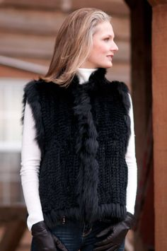 Womens Laurel Knitted Rabbit Fur Vest with Fox Fur Trim