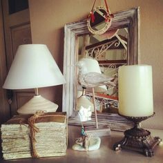 #home #decoration #handmade #stone #crown #heart #bird #mirrors #books #lamp #candle #red #blue