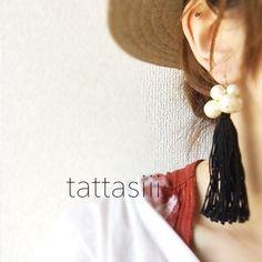 タッセルpierced earrings[墨]