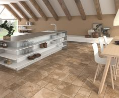 Enjoy our porcelain and ceramic tiles floors and walls in settings of bathrooms, kitchens , livingrooms and exteriors Ceramic Floor Tiles, Porcelain Tile, Tile Floor, Interiores Design, Flooring, Kitchen, Stone, Inspiration, Collection