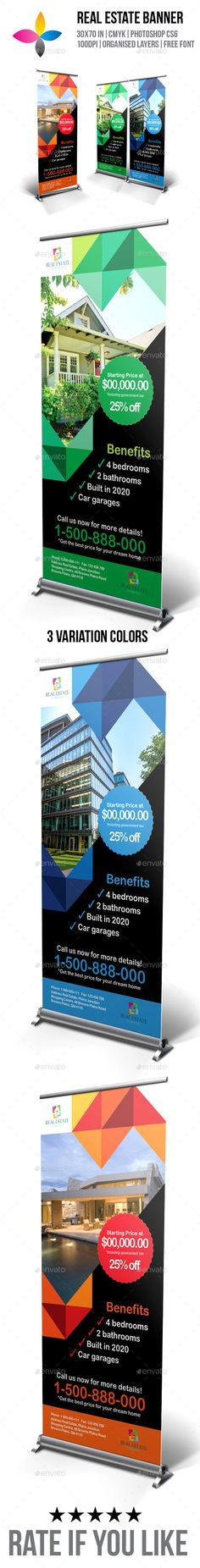 Real Estate Roll-Up Banner by inddesigner Roll-Up banner size Bleed Photoshop CMYK Arial Rounded MT Bold: Stand PC/MAC font Info file included Roll Up Design, Pop Up Banner, Real Estate Branding, Banner Stands, Cool Business Cards, Banner Template, Print Templates, Digital Signage, Banner Design