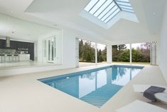 Residential Interior with luxury indoor swimming pool.