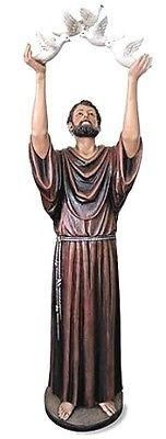 "Saint Francis with Birds Hand Painted Church statue -  Val Gardena 48"" Tall"