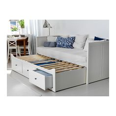 HEMNES Day-bed frame with 3 drawers - white/Malfors medium firm - IKEA Cama Ikea Hemnes, Hemnes Day Bed, Day Bed Frame, Futon Frame, Murphy Bed Ikea, Spare Room, New Room, Home Furnishings, Bedroom Decor