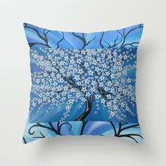 """crisp (this painting pairs well with """"fresh"""" which is also in my store) - Cathy Jacobs Throw Pillow by Cathy Jacobs - $20.00"""